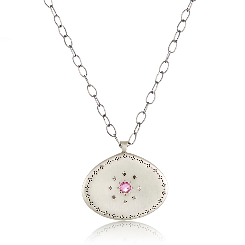 Adel Chefridi Sterling Silver With Ruby Center Necklace