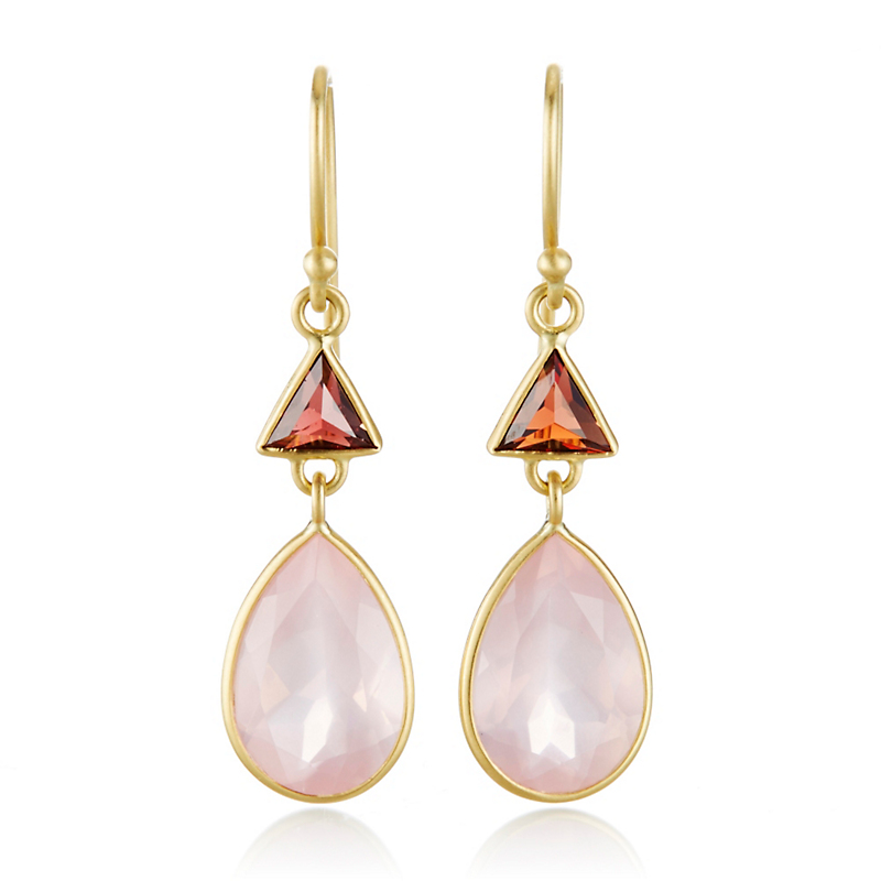 Kothari Garnet Triangle & Rose Quartz Pear Shaped Drop Earrings