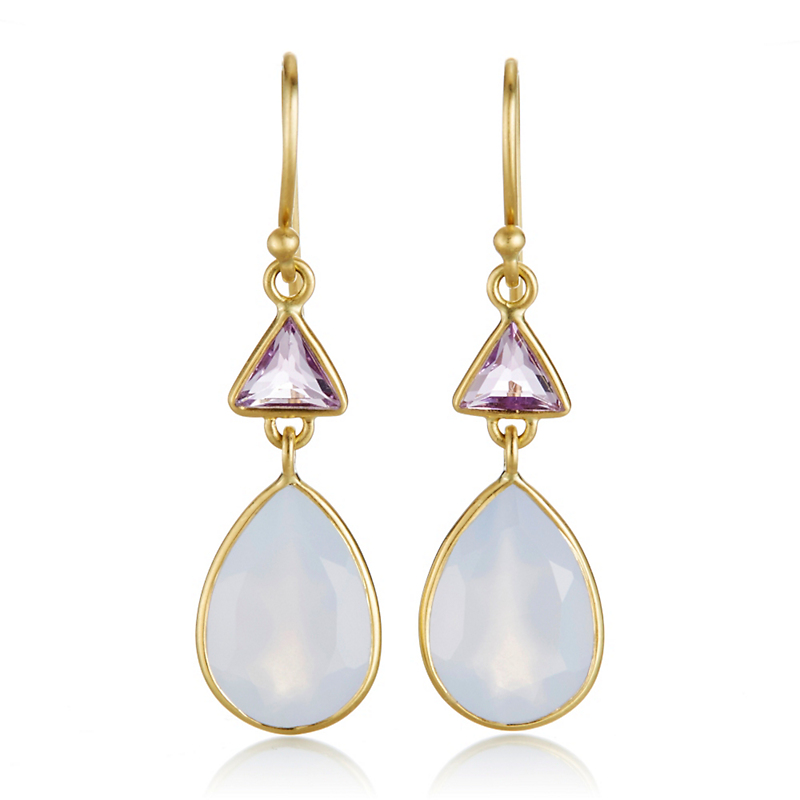 Kothari Amethyst Chalcedony Triangle & Pear Drop Earrings