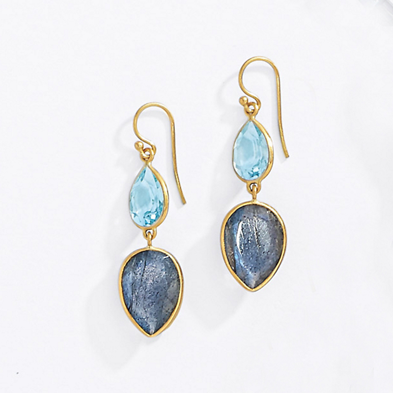 Kothari Blue Topaz & Labradorite Pear Drop Earrings