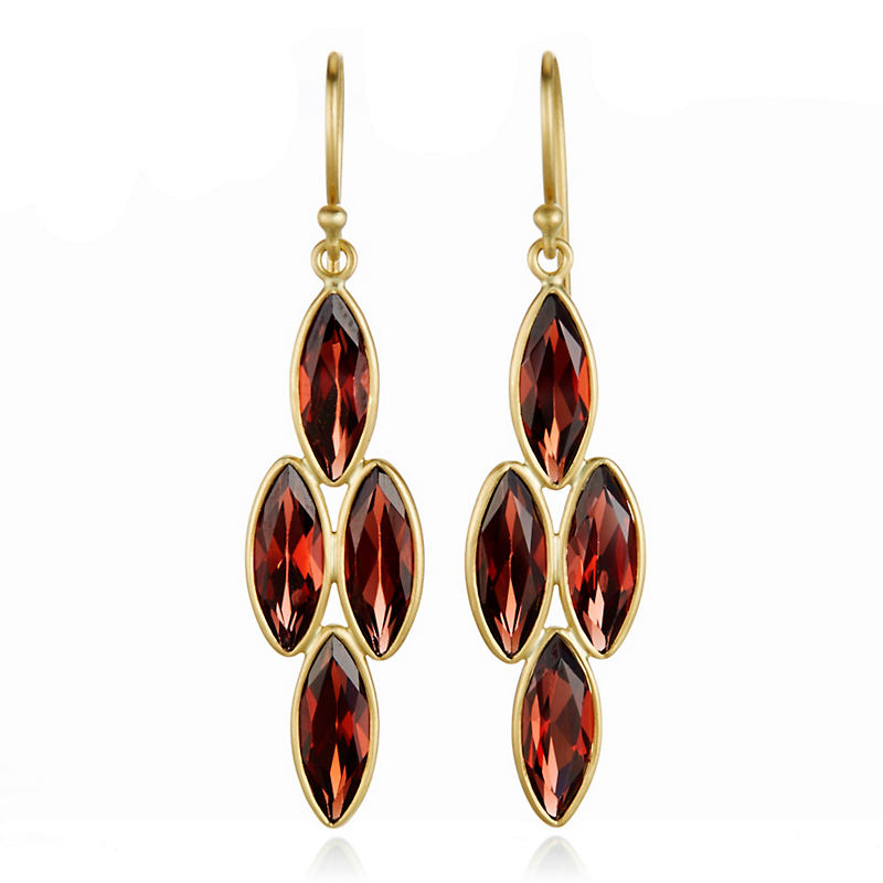 Kothari Garnet Marquise Chandelier Earrings