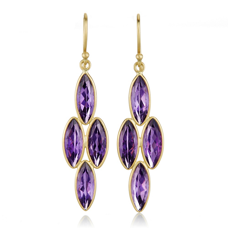 Kothari Amethyst Marquise Chandelier Earrings