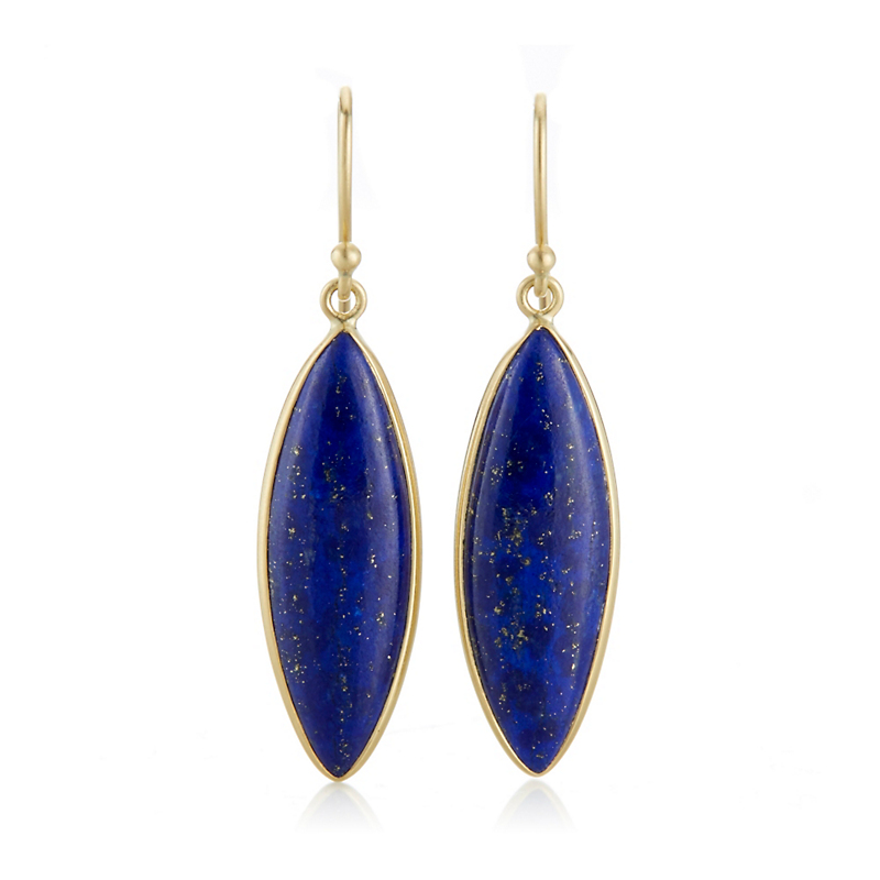 Kothari Blue Lapis Marquise Drop Earrings