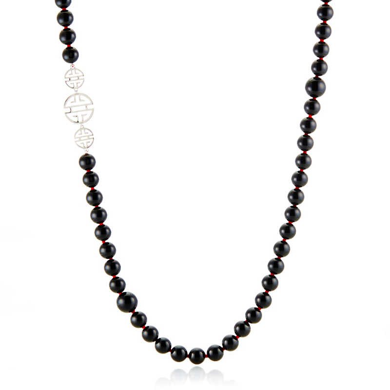 Gump's Triple Shou Onyx Rope Necklace
