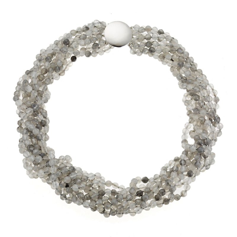 Gump's Soft Grey Quartz Twist Necklace