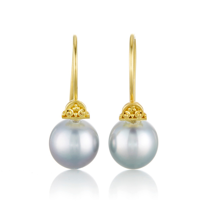 Gump's Gold Half Moon & Tahitian Pearl Drop Earrings
