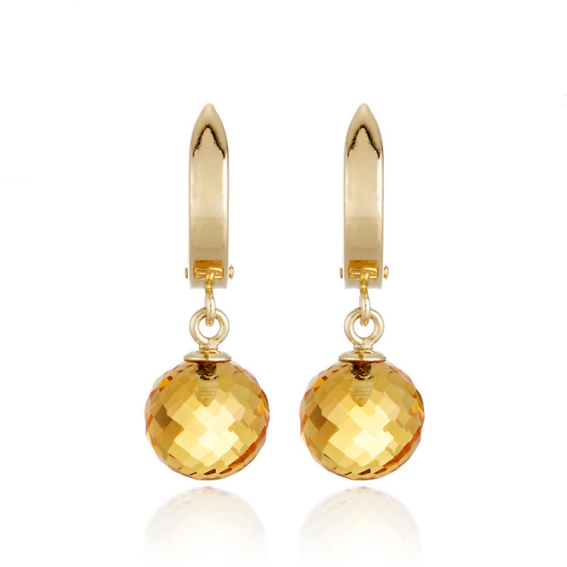 Gump's Gold Hoop and Faceted Citrine Bead Drop Earrings