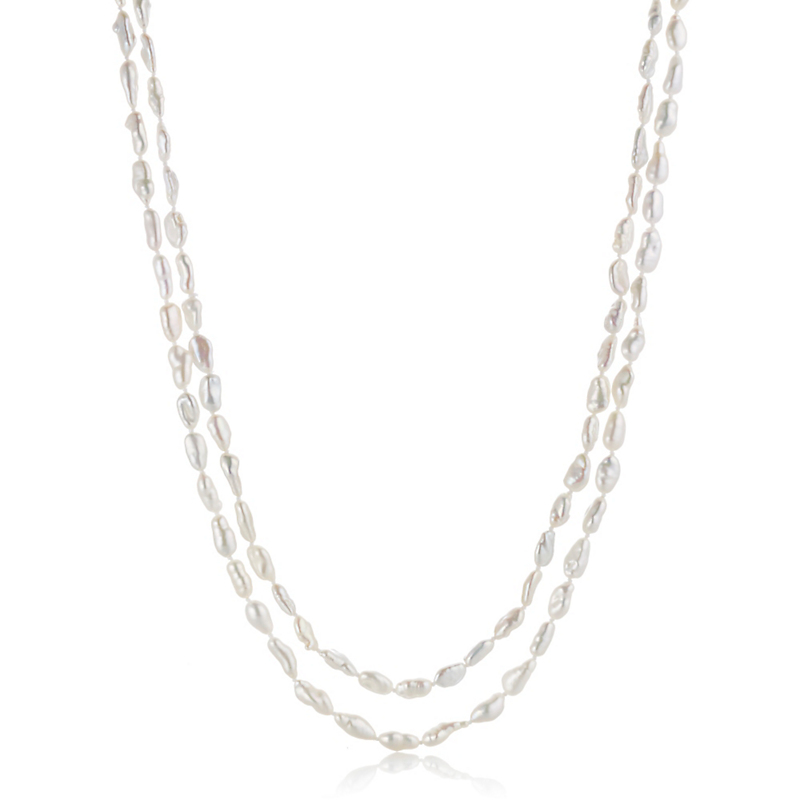 Gump's Rice Baroque Freshwater Pearl Rope Necklace