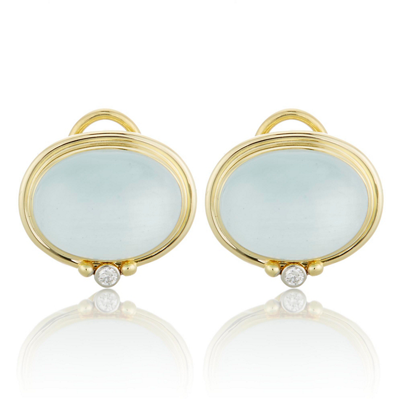 East West Aquamarine and Diamond Earrings