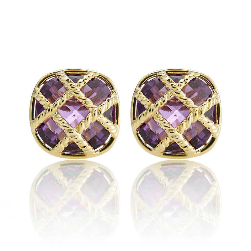 Faceted Amethyst Lattice Cushion Earrings