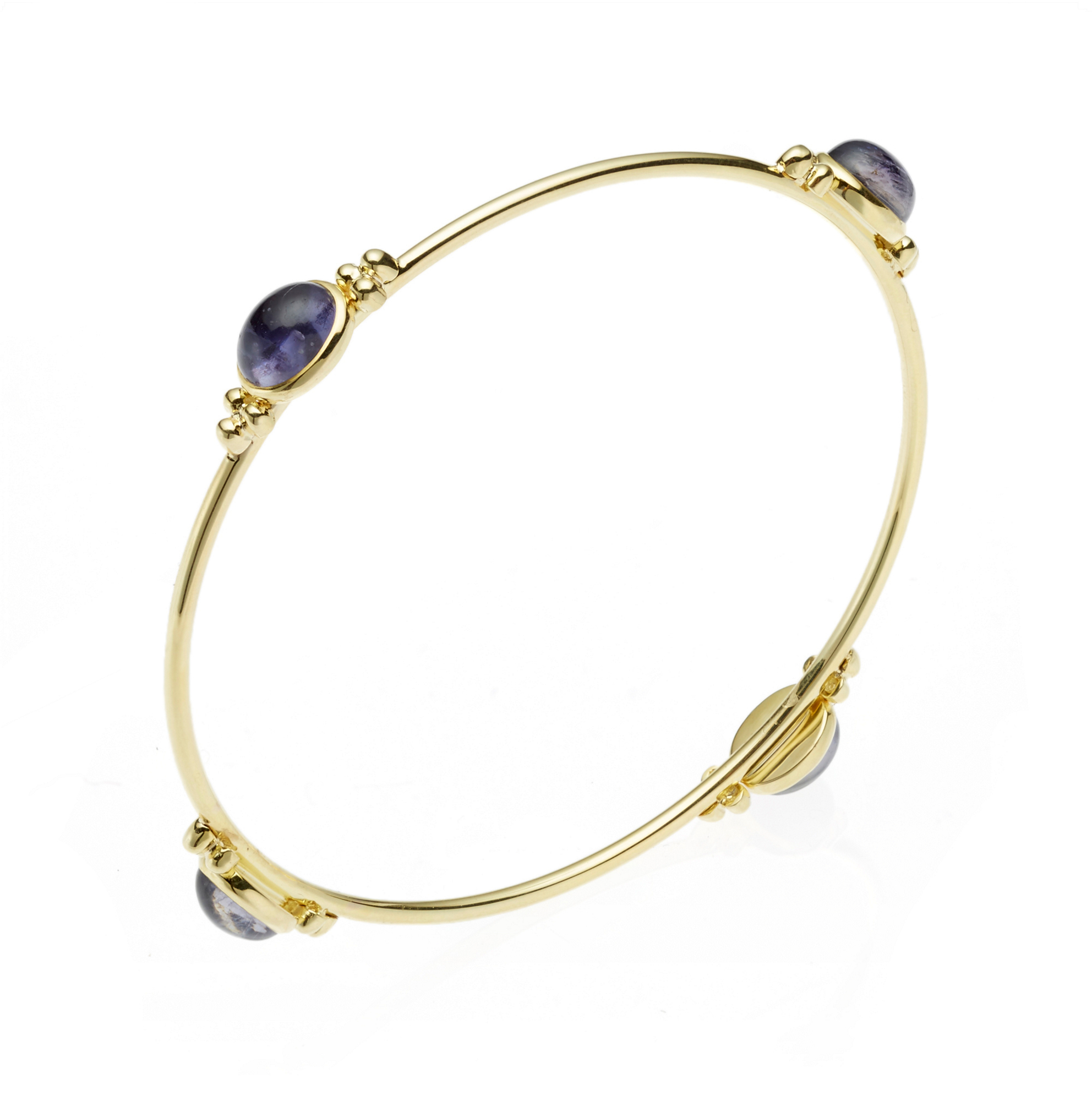 Iolite Cabochon Capri Thin Round Bangle
