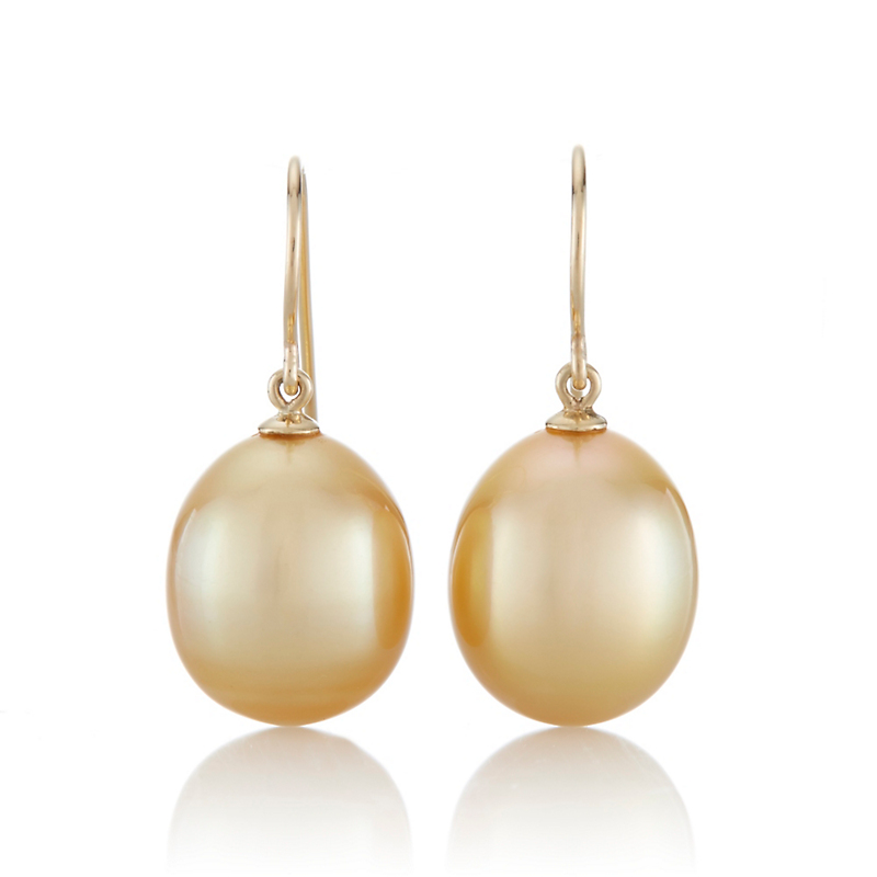 Gump's Golden South Sea Cultured Pearl Drop Earrings