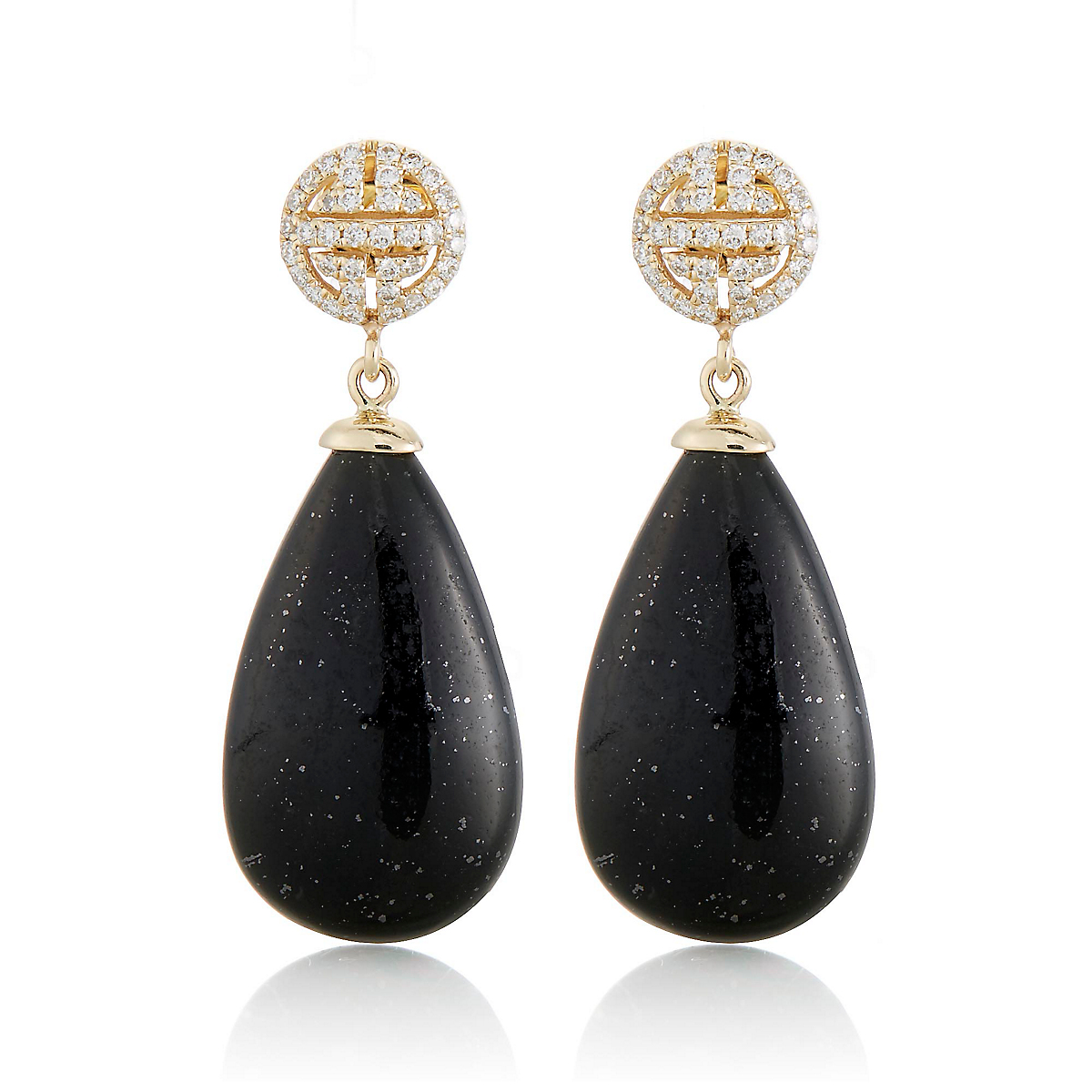 Gump's Black Nephrite and Diamond Shou Drop Earrings