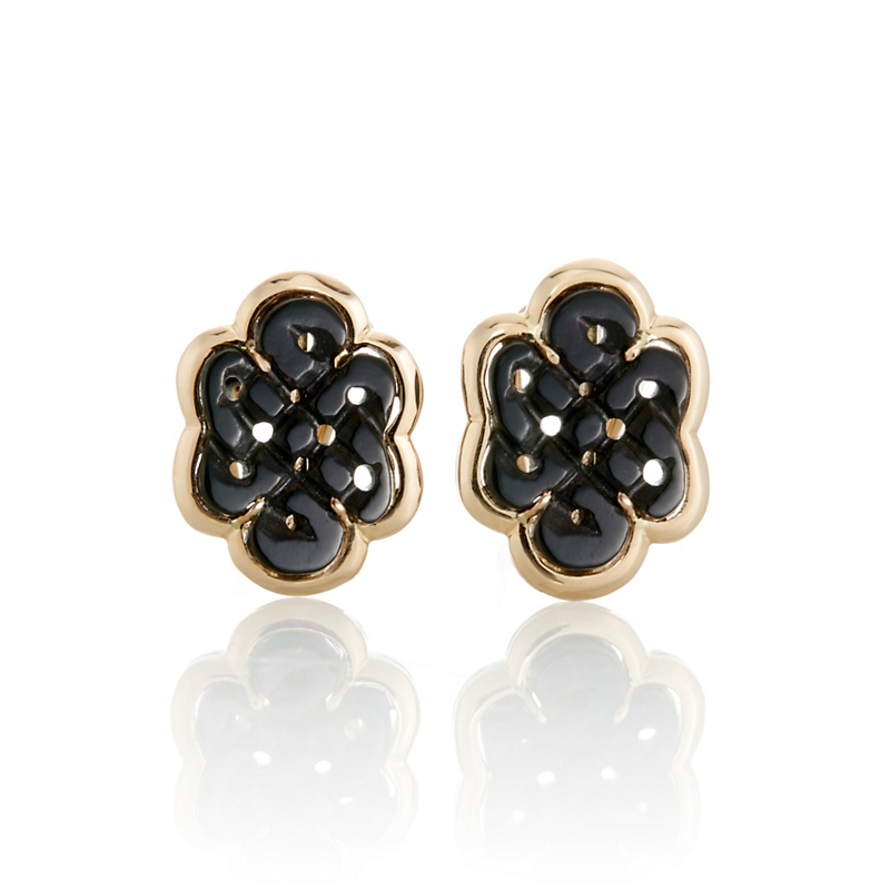 Black Nephrite Endless Knot Earrings