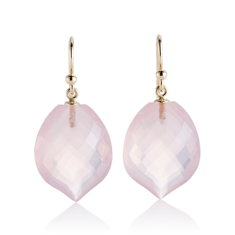 Gump's Faceted Rose Quartz Leaf Drop Earrings