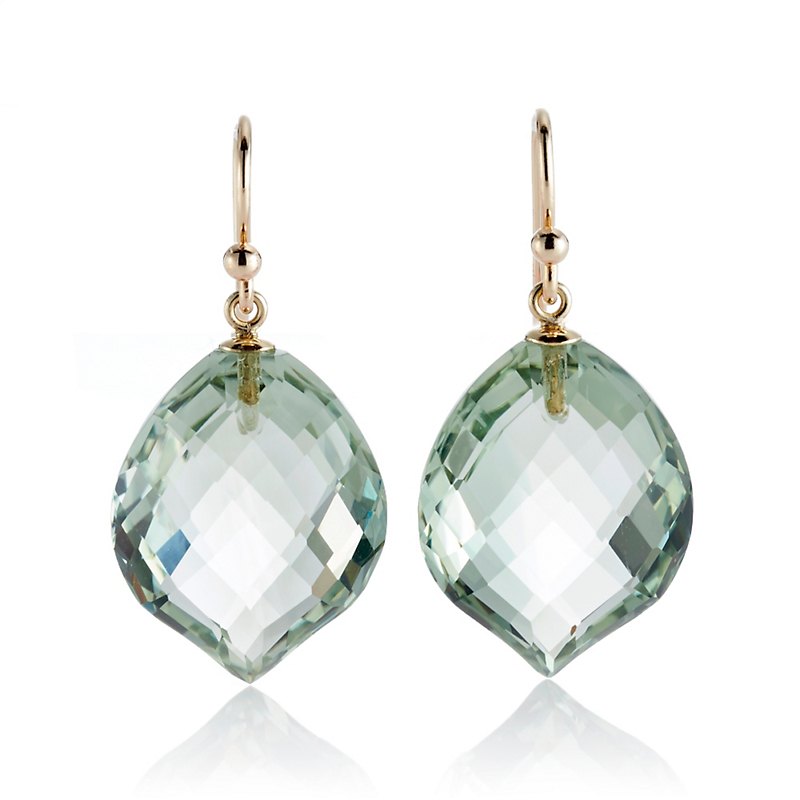 Gump's Faceted Green Quartz Leaf Drop Earrings