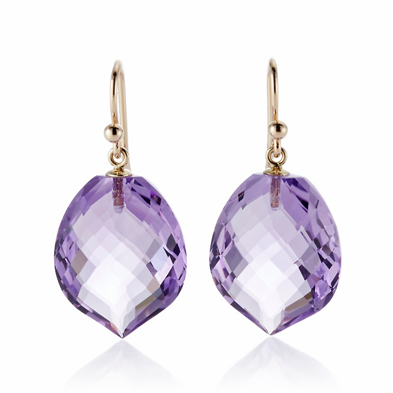 Faceted Amethyst Leaf Drop Earrings
