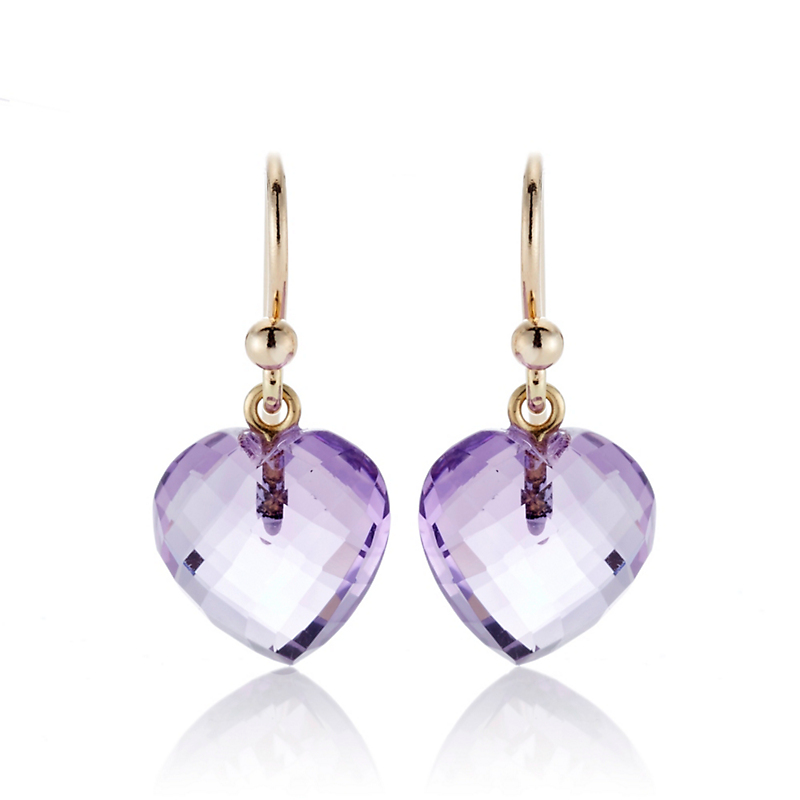 Gump's Faceted Amethyst Heart Drop Earrings