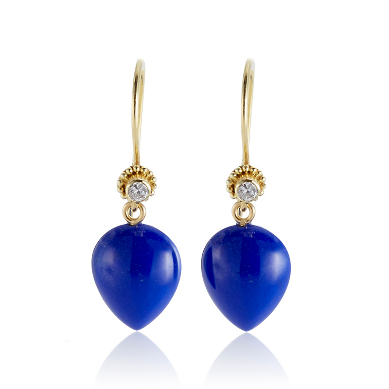 Gump's Lapis With Diamond Inverted Teardrop Earrings