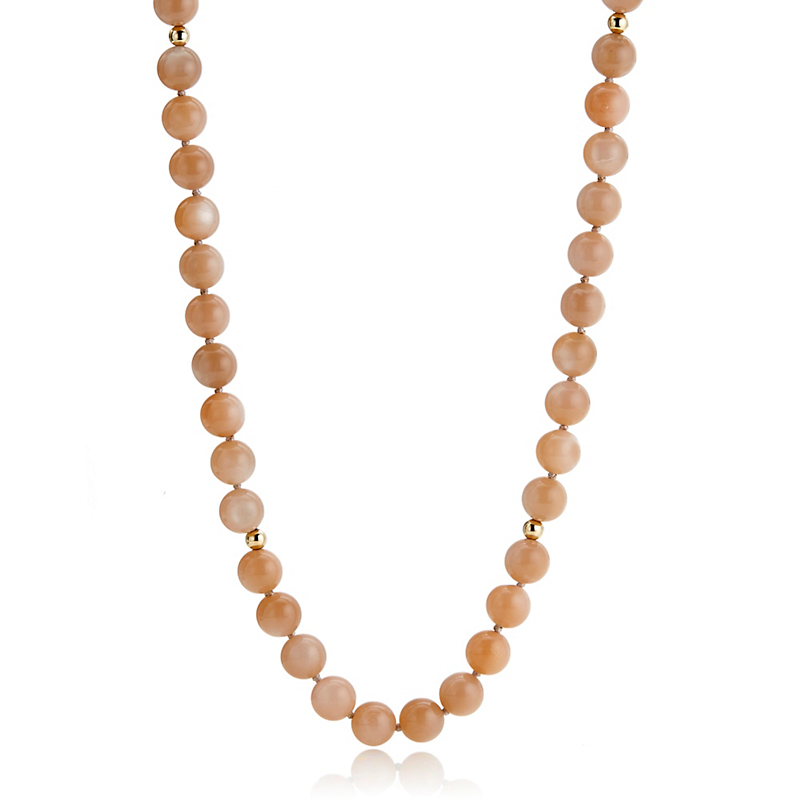 Gump's Peach Moonstone & Gold Bead Rope