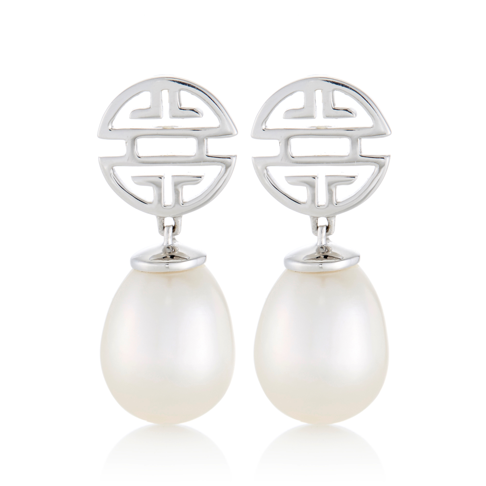 Gump's Shou Silver & White Freshwater Pearl Drop Earrings