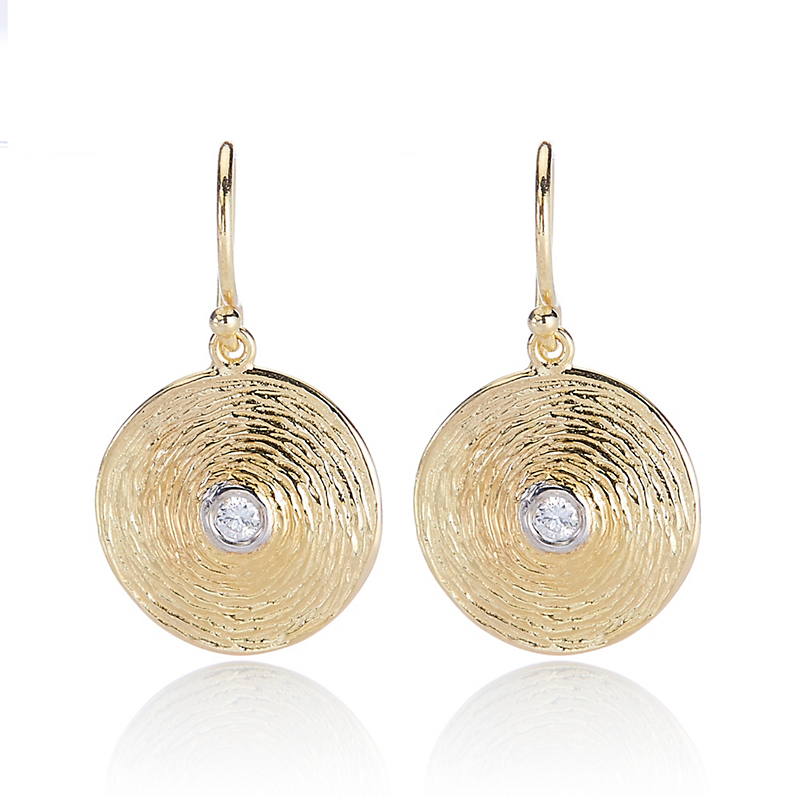 Textured Disc with Diamond Drop Earrings