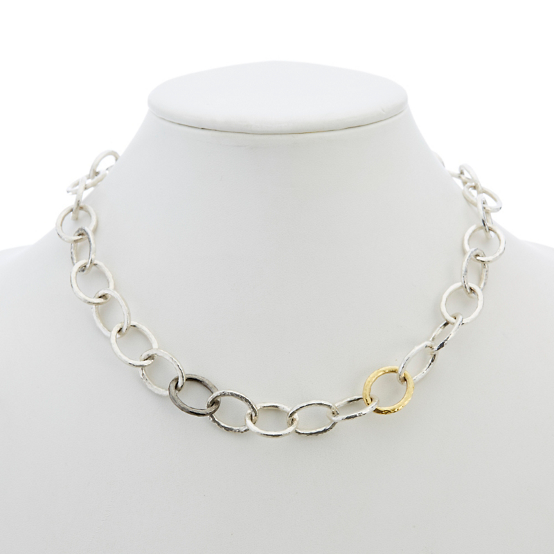 Gurhan Sterling Silver Hoopla Tri-Oval Linked Necklace