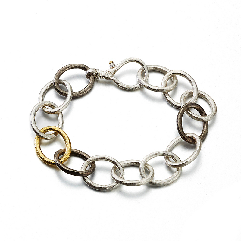 Gurhan Sterling Silver Hoopla Tri-Oval Linked Bracelet