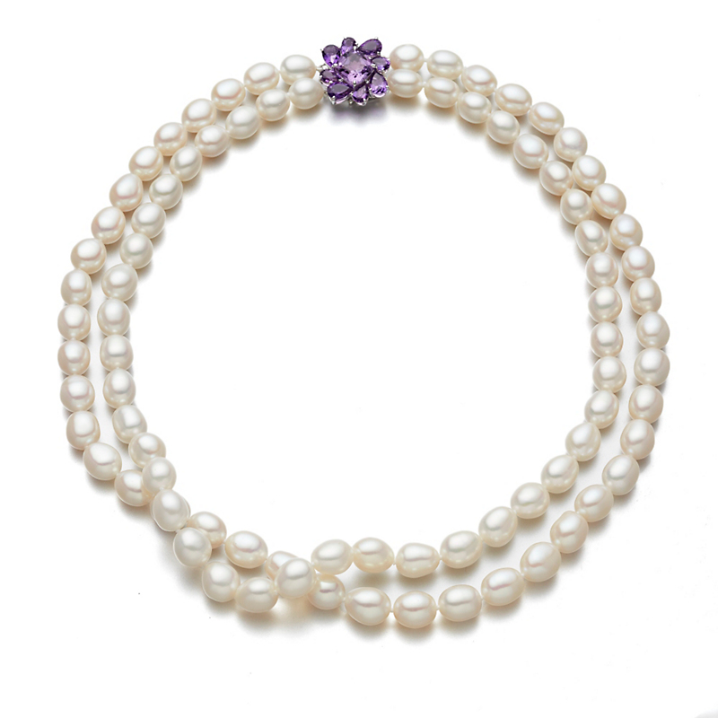 Gump's Amethyst Flower Cluster & Pearl Necklace