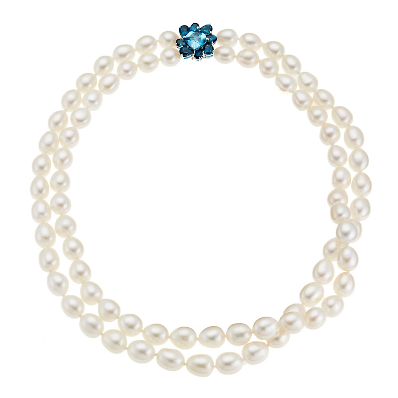Gump's Swiss Blue Topaz Flower Cluster & Pearl Necklace
