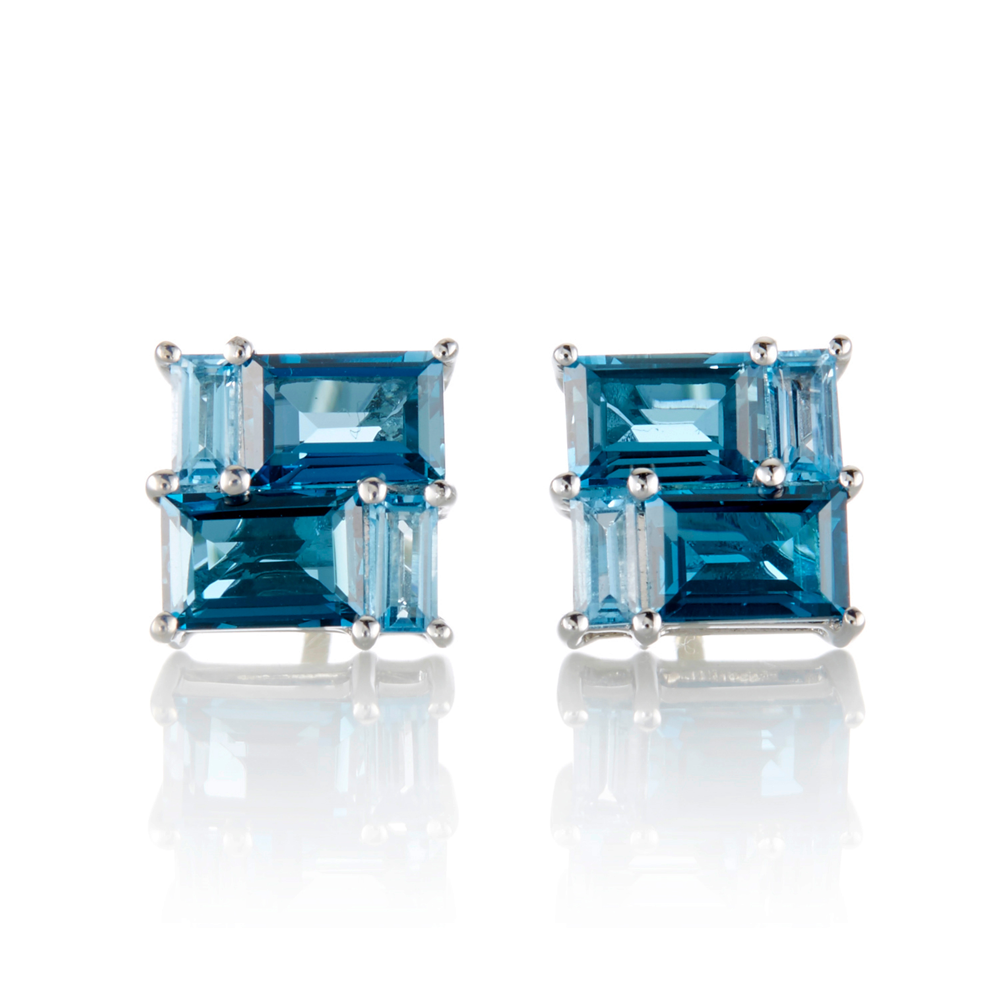 Gump's London & Swiss Blue Topaz Mosaic Stud Earrings