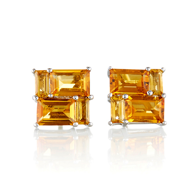Gump's Citrine Mosaic Stud Earrings