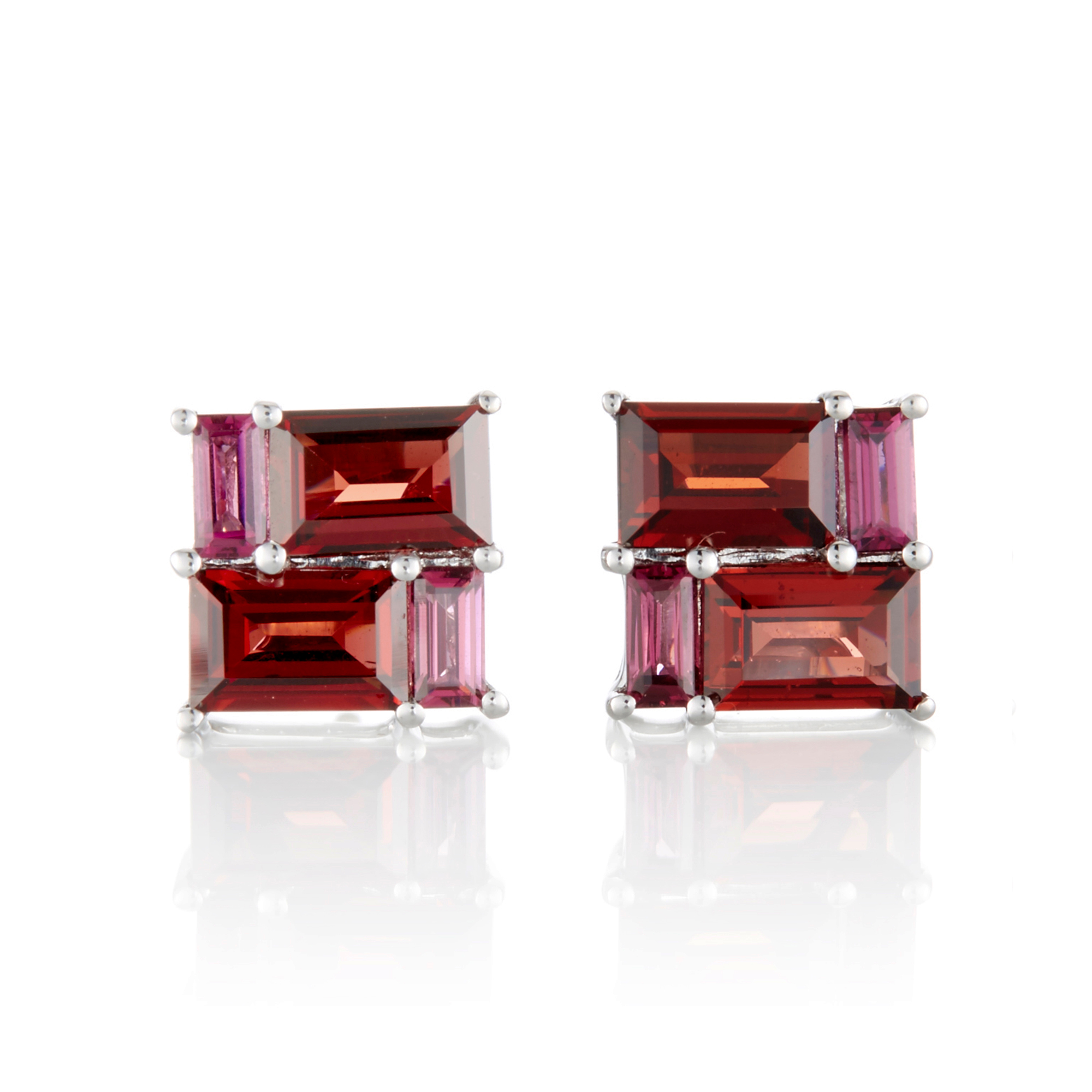 Gump's Rhodolite & Garnet Mosaic Stud Earrings