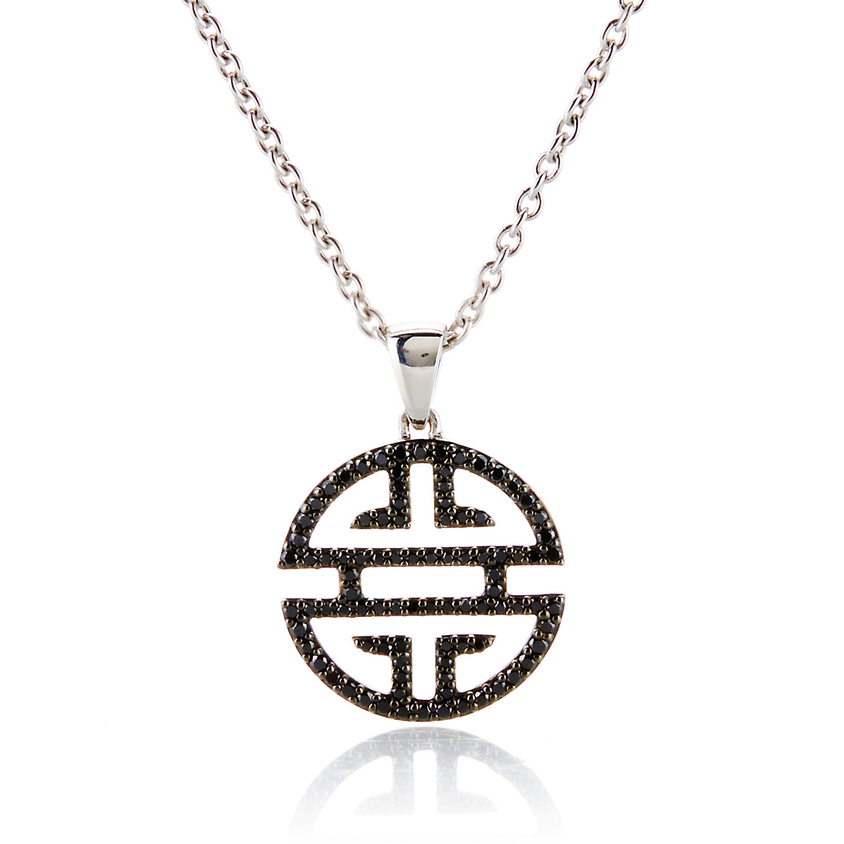 Gump's Shou Sterling Silver & Black Diamond Small Pendant Necklace