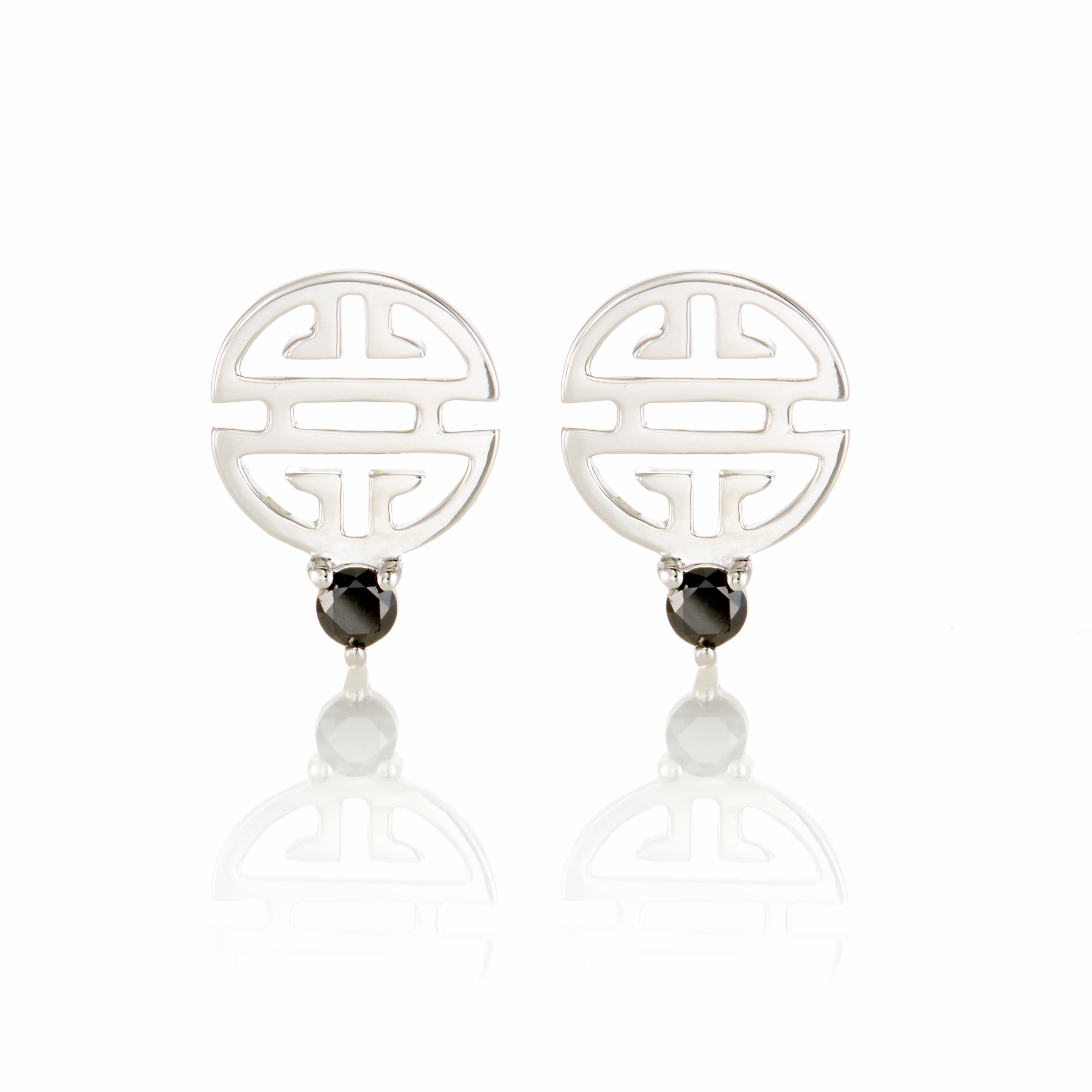 Gump's Silver Shou & Black Diamond Stud Earrings