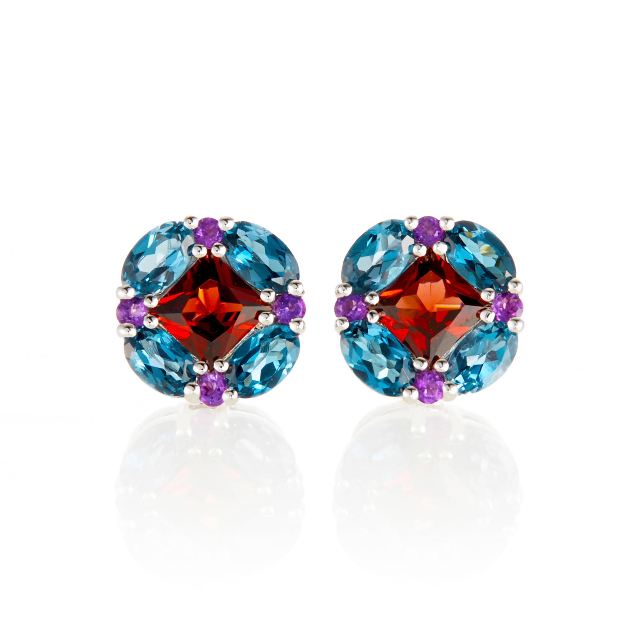 Gump's Garnet, Blue Topaz, & Amethyst Quadrille Stud Earrings