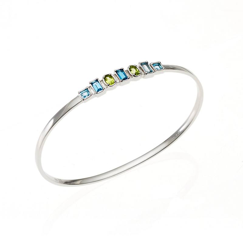 Gump's Peridot, Swiss, & Sky Blue Topaz Silver Bangle