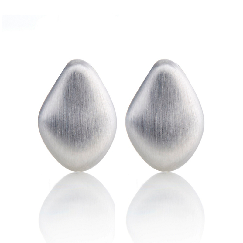 Gump's Sterling Silver Brushed Pebble Earrings
