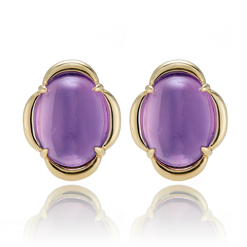 Gump's Amethyst Cabochon Scalloped Earrings