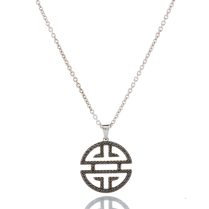 Gump's Shou Sterling Silver & Black Diamond Medium Pendant Necklace