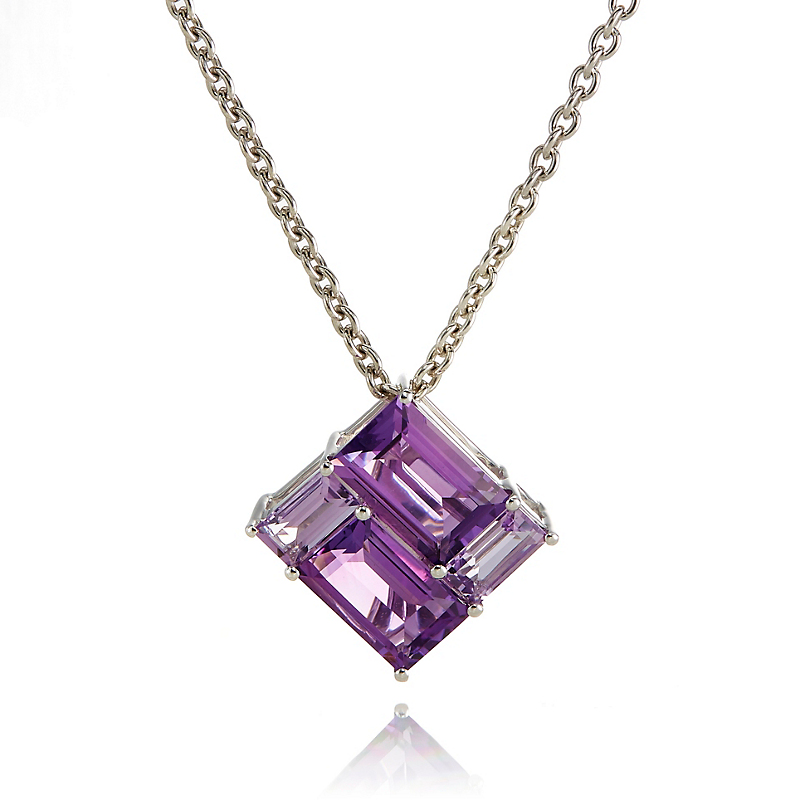 Gump's Amethyst & Pale Amethyst Mosaic Necklace