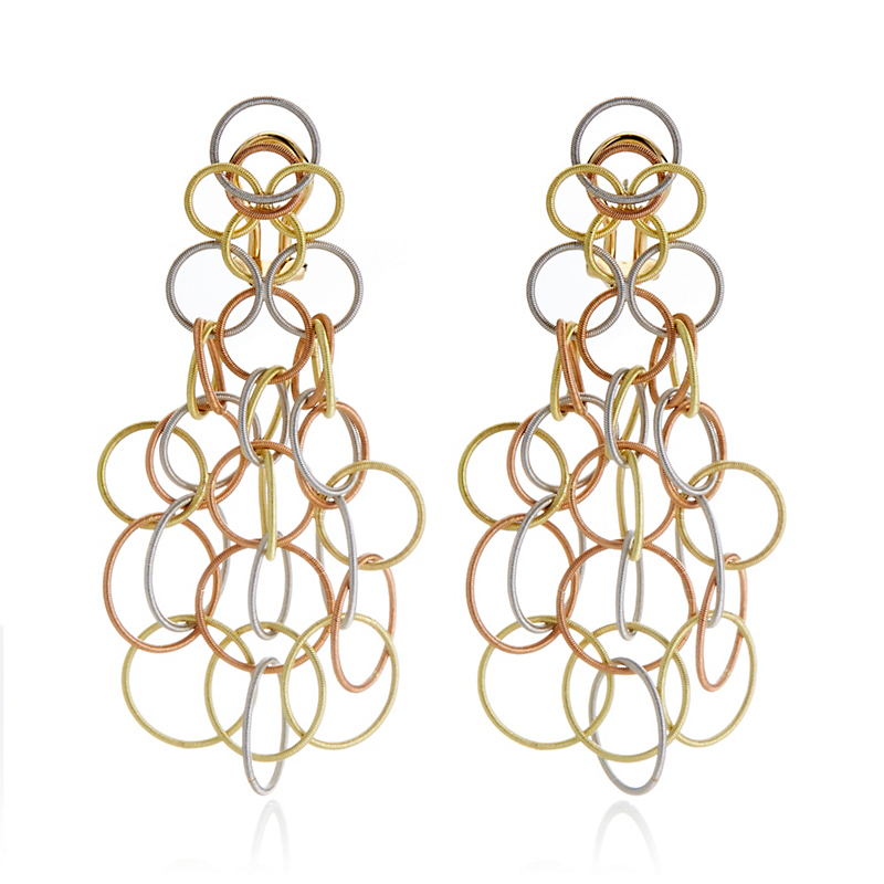 Buccellati Three-Color Gold Hawaii Pendant Earrings