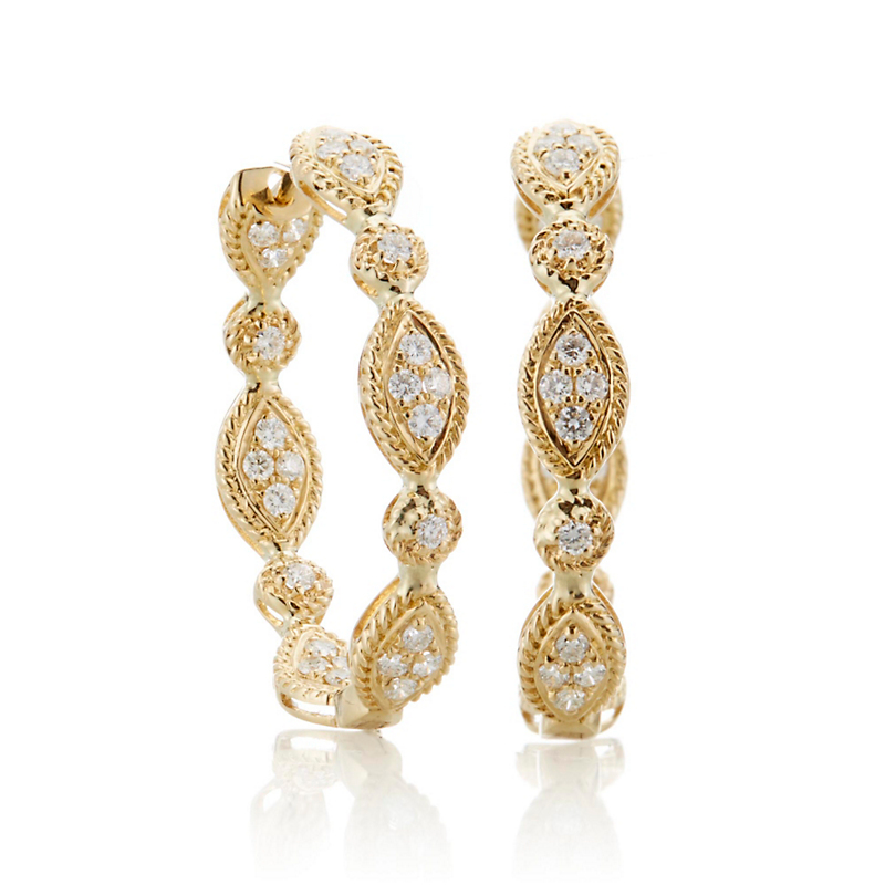 Marquise Diamond Hoop Earrings