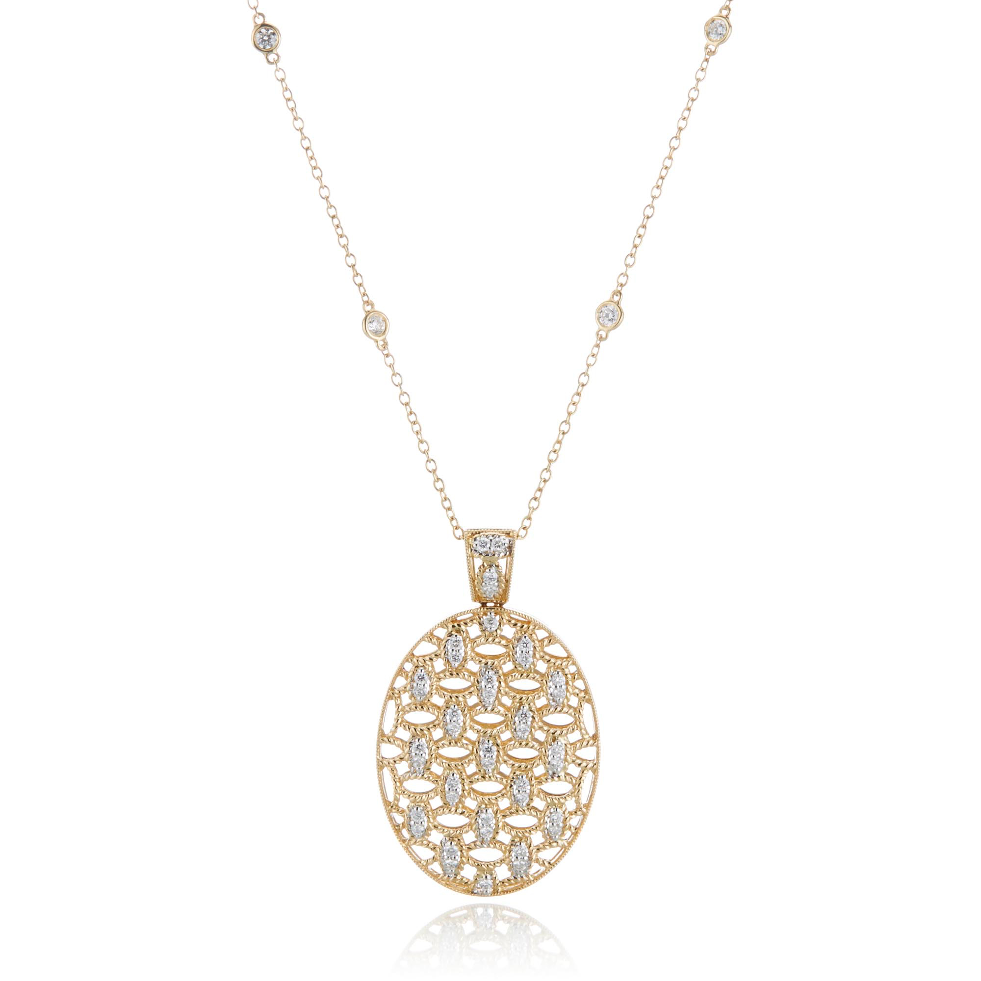 Openwork Oval Diamond Egg Necklace