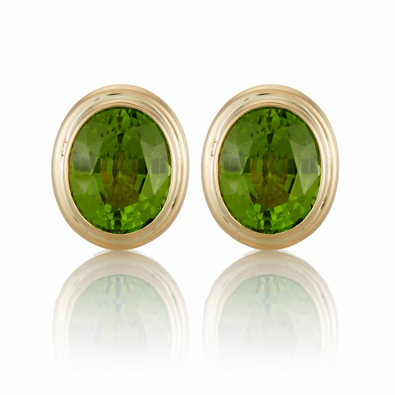 Gump's Faceted Peridot Double Bezel Earrings