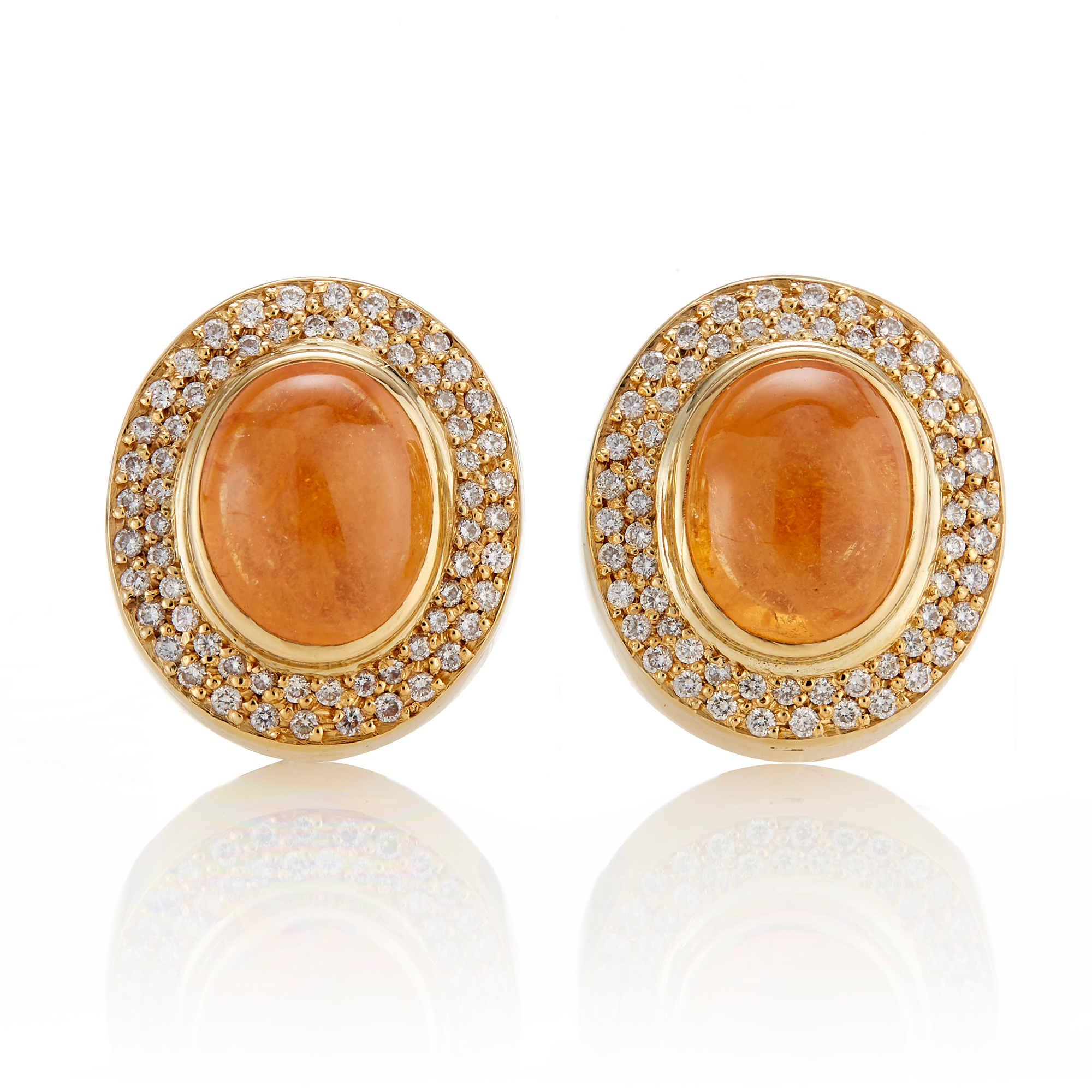 Gump's Spessartine Cabochon & Diamond Double Halo Earrings