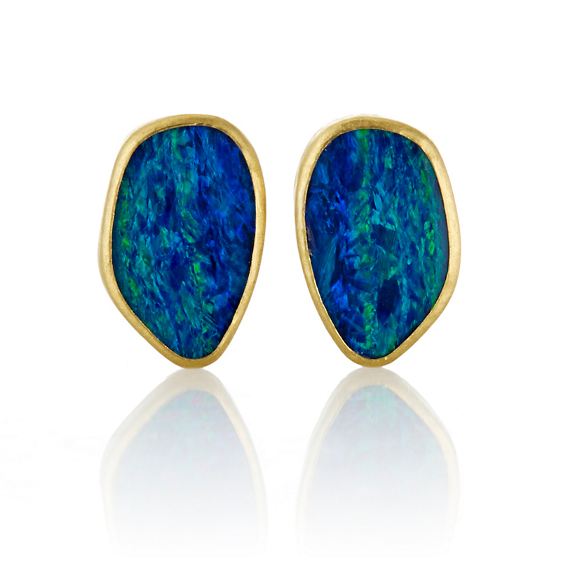Petra Class Opal Doublet and Gold Organic Stud Earrings