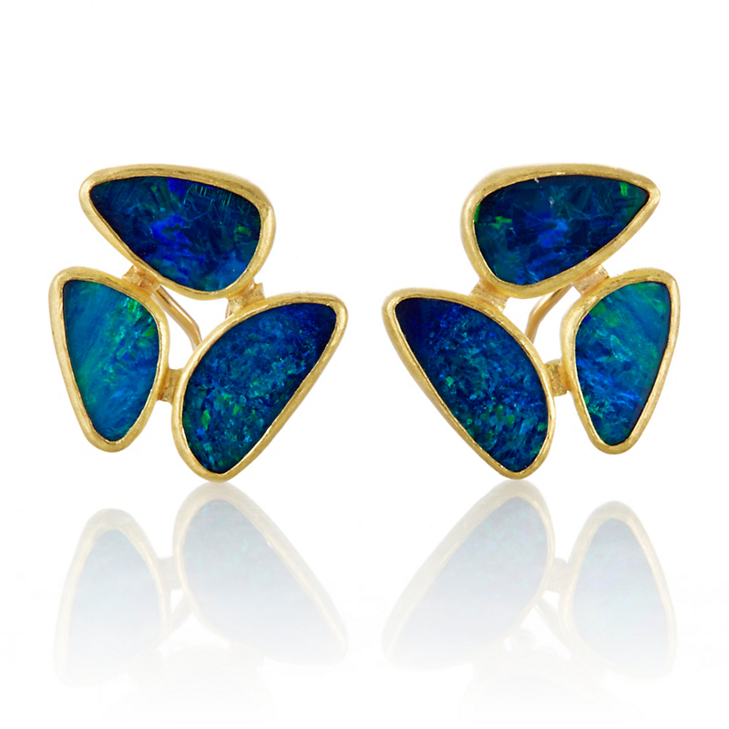 Petra Class Opal Doublet Organic Cluster Earrings