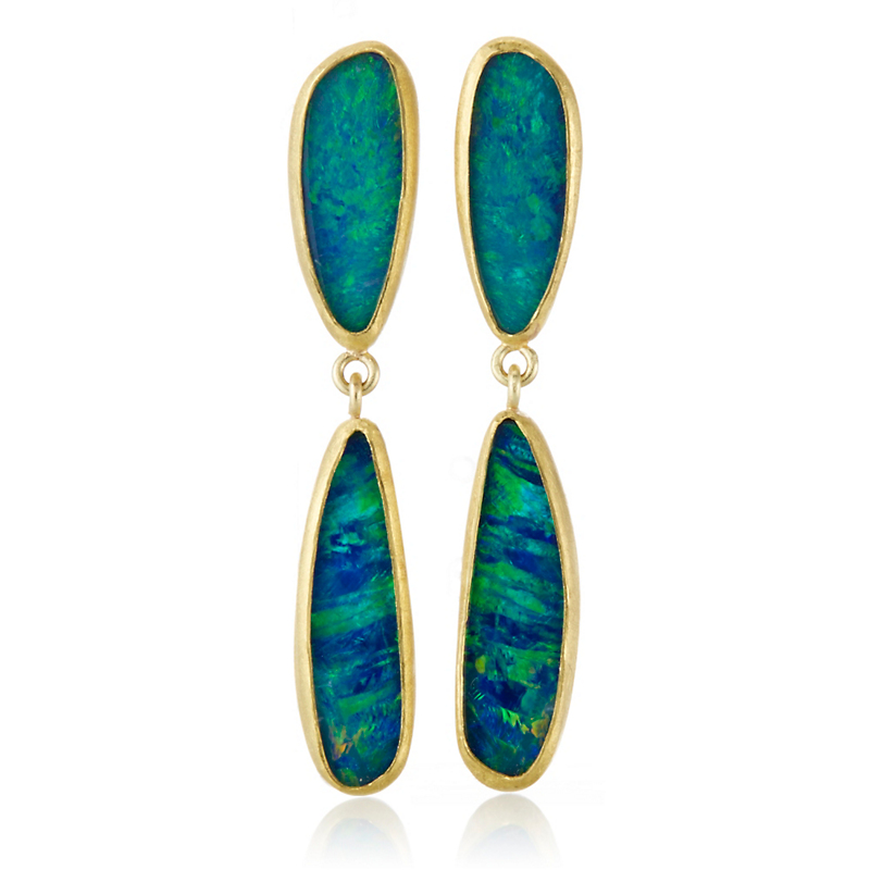 Petra Class Opal Doublet and Gold Double Drop Earrings