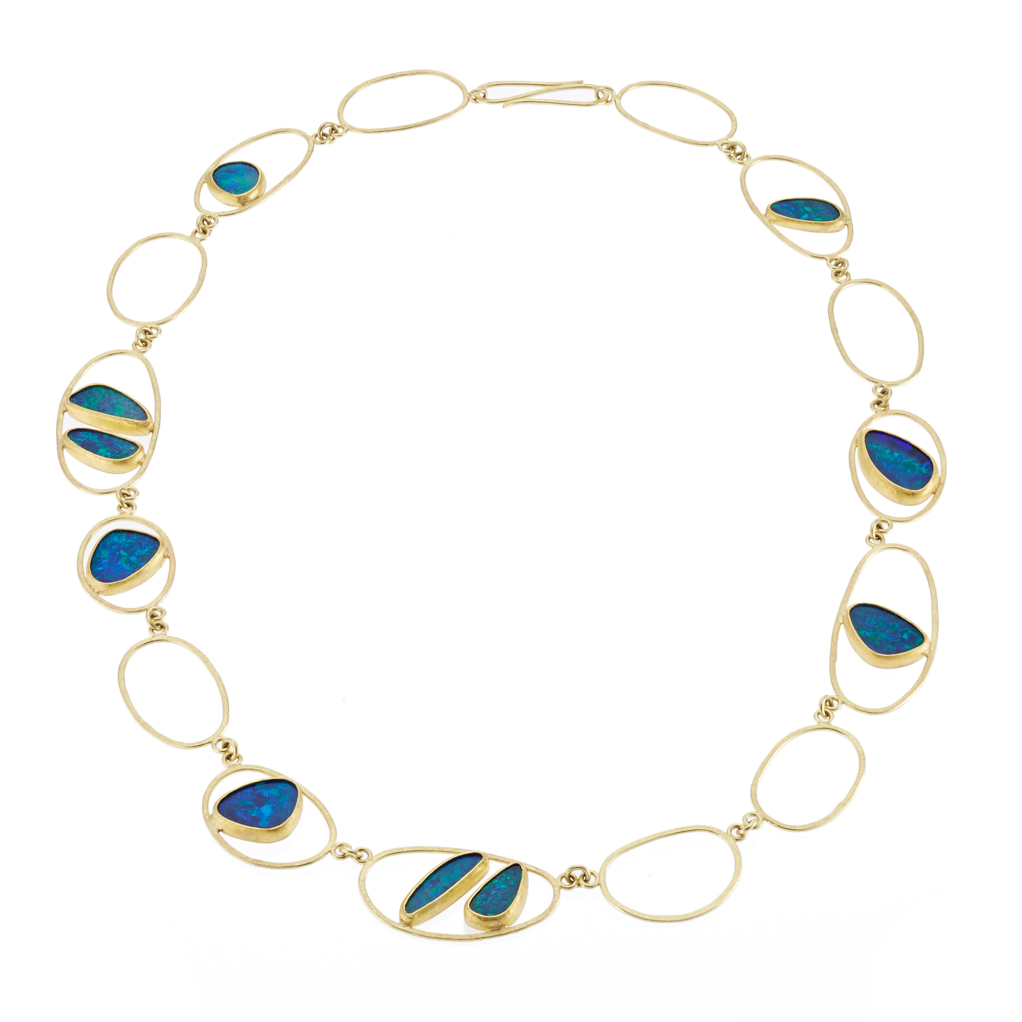 Petra Class Opal Doublet and Gold Organic Open Link Necklace